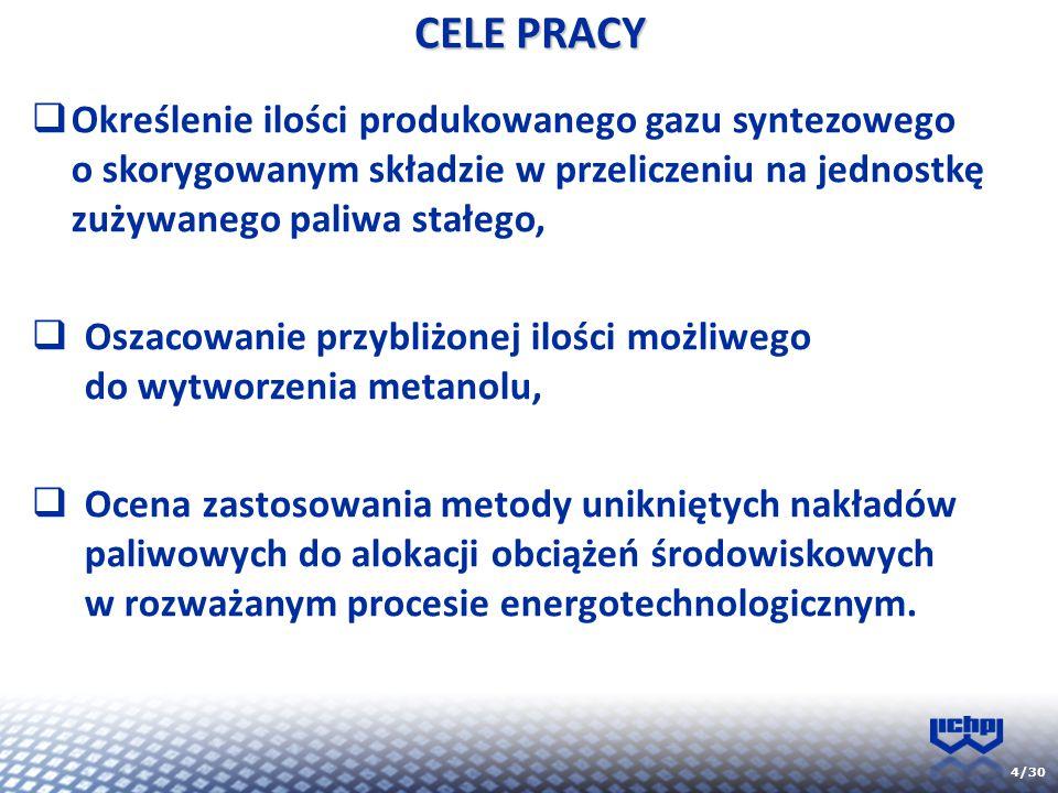 CELE PRACY Określenie ilości produkowanego gazu syntezowego o skorygowanym składzie w przeliczeniu na jednostkę zużywanego paliwa stałego,