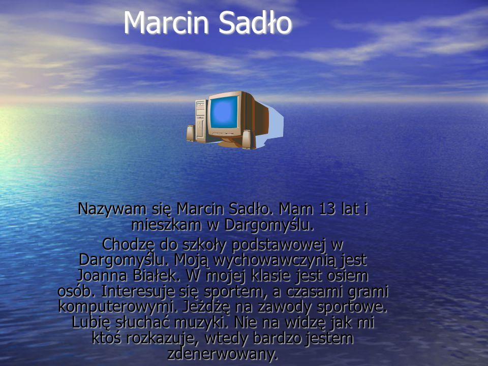 Nazywam się Marcin Sadło. Mam 13 lat i mieszkam w Dargomyślu.