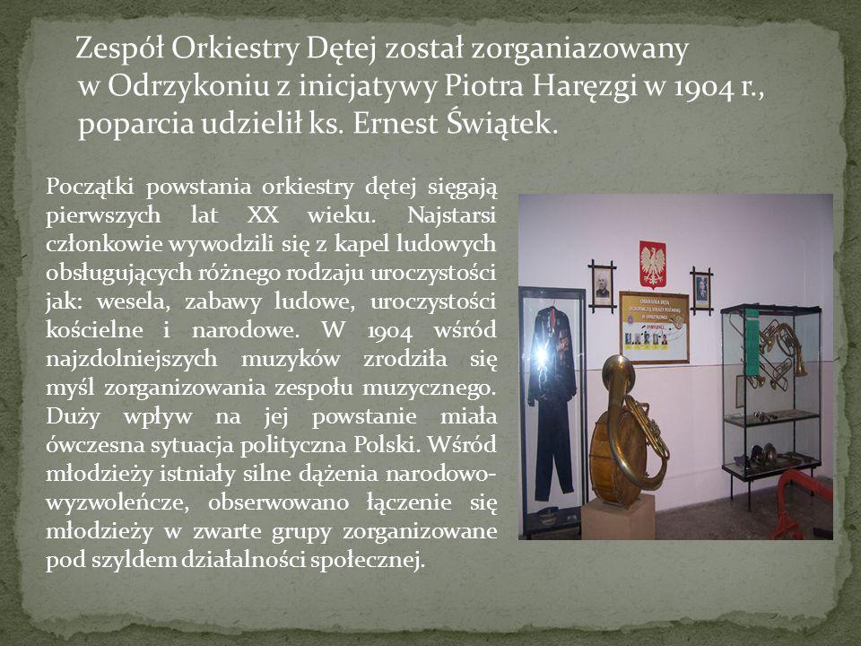 Zespół Orkiestry Dętej został zorganiazowany w Odrzykoniu z inicjatywy Piotra Haręzgi w 1904 r., poparcia udzielił ks. Ernest Świątek.