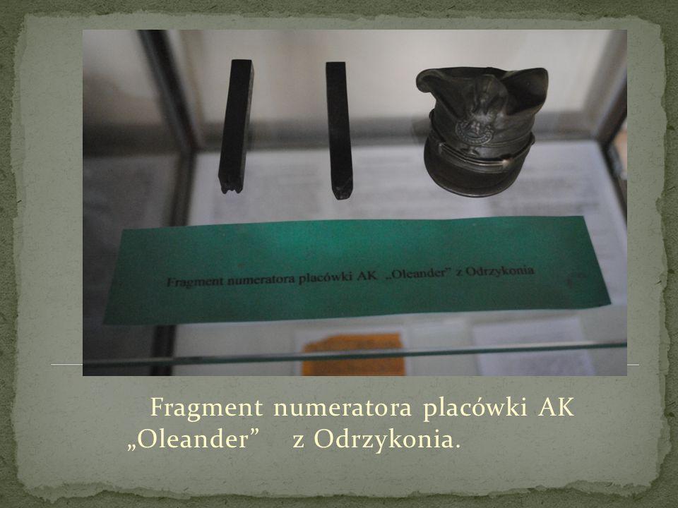 """Fragment numeratora placówki AK """"Oleander z Odrzykonia."""