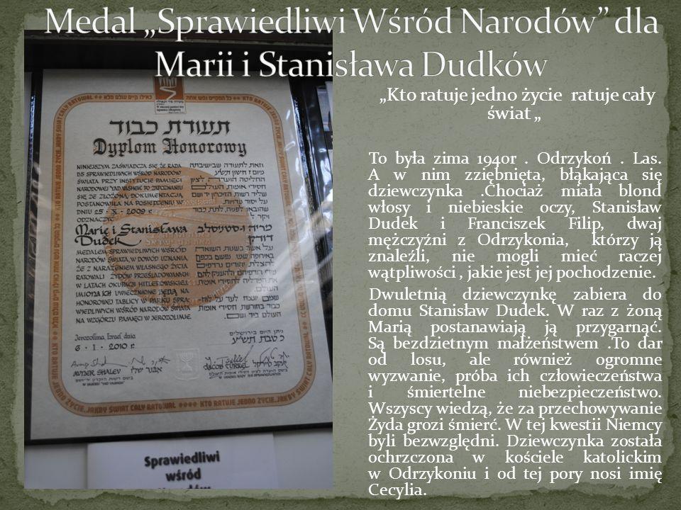 """Medal """"Sprawiedliwi Wśród Narodów dla Marii i Stanisława Dudków"""