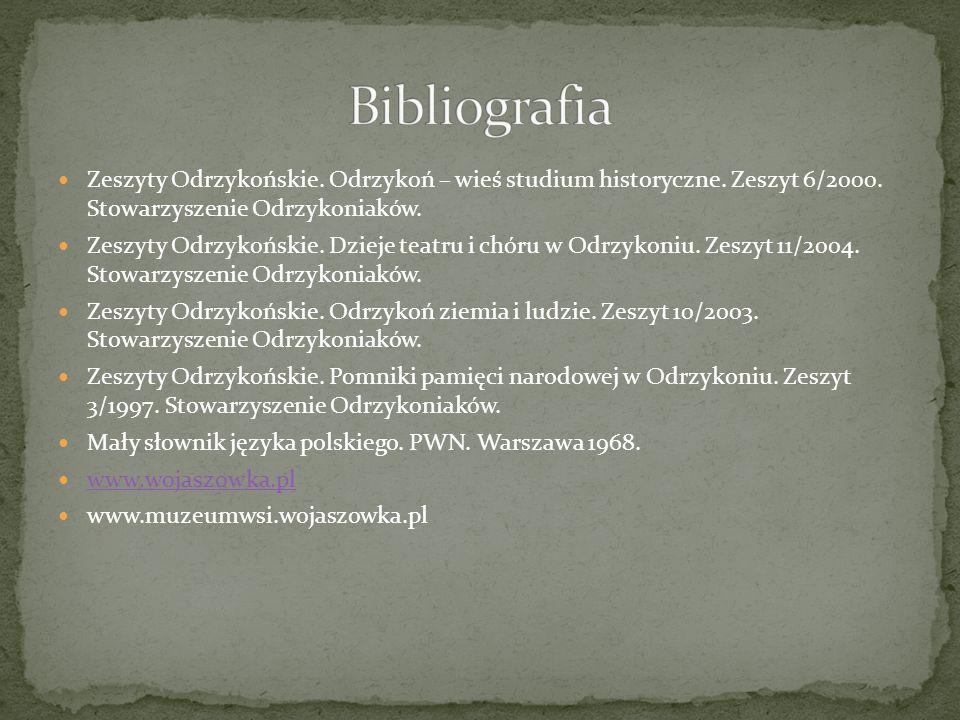 Bibliografia Zeszyty Odrzykońskie. Odrzykoń – wieś studium historyczne. Zeszyt 6/2000. Stowarzyszenie Odrzykoniaków.