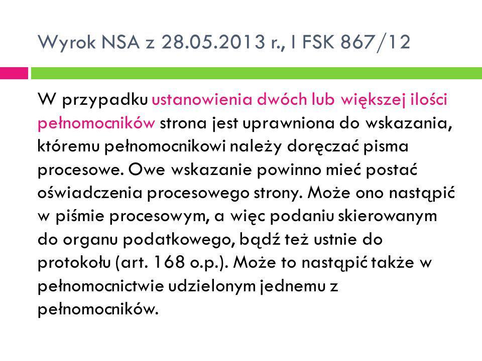 Wyrok NSA z 28.05.2013 r., I FSK 867/12