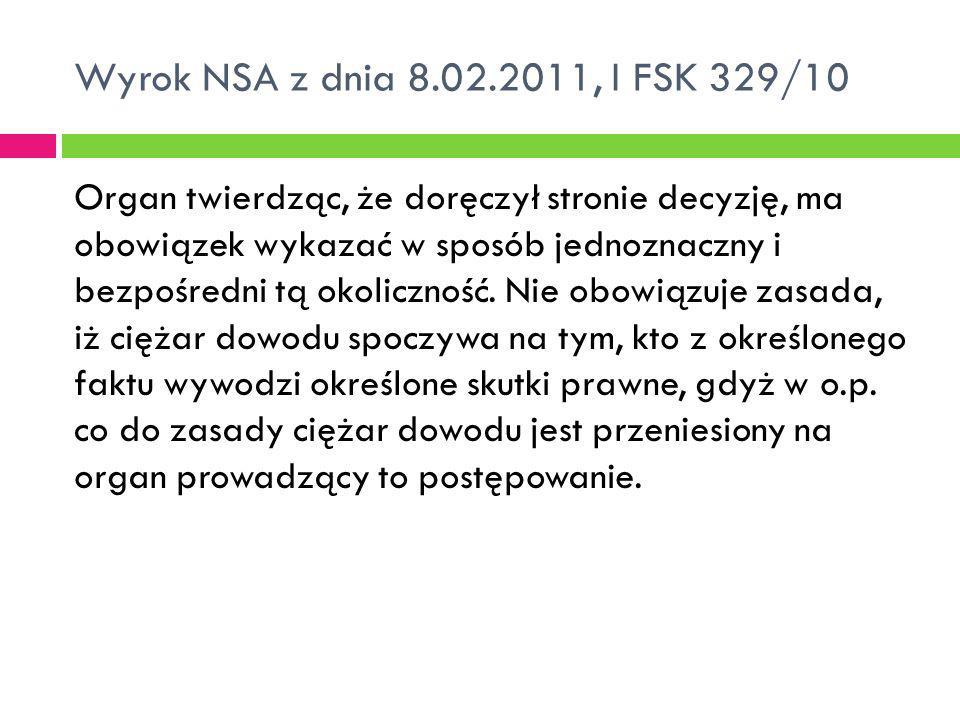 Wyrok NSA z dnia 8.02.2011, I FSK 329/10