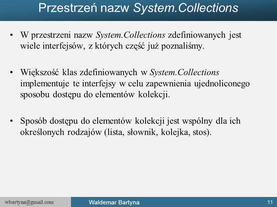 Przestrzeń nazw System.Collections