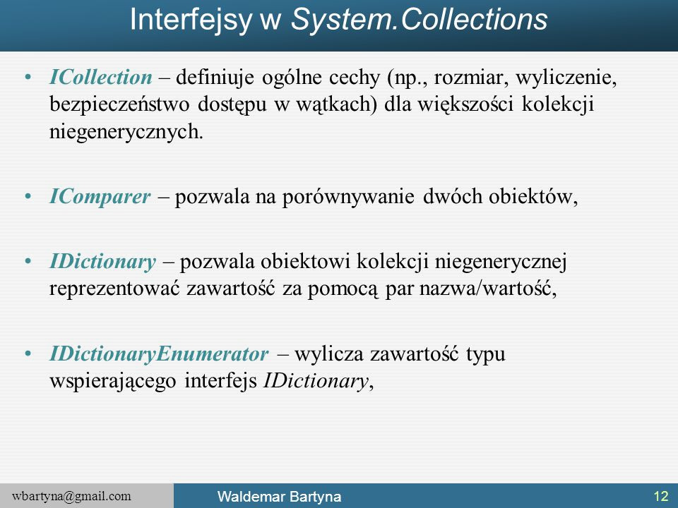 Interfejsy w System.Collections