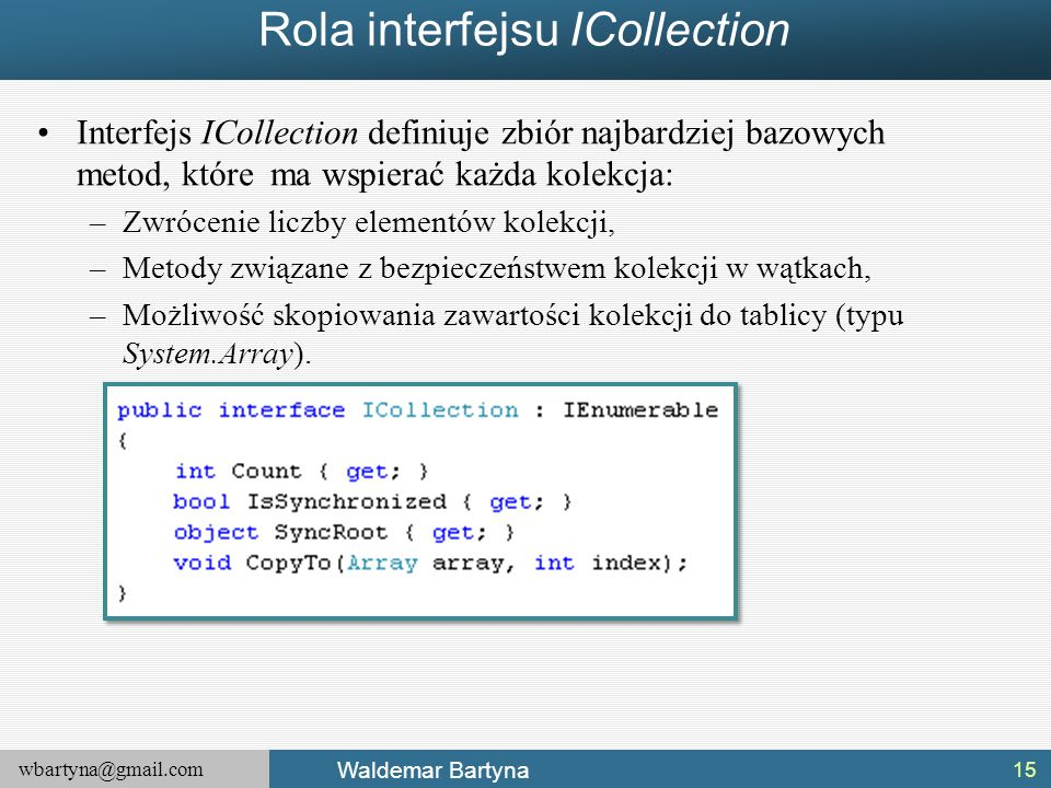 Rola interfejsu ICollection