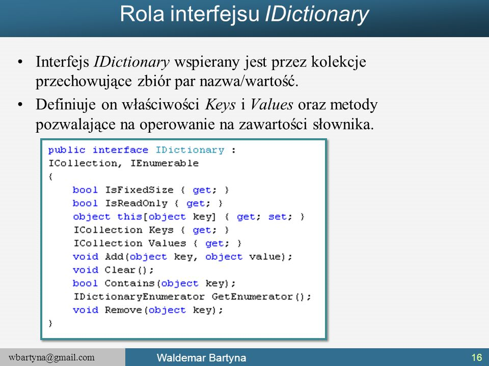 Rola interfejsu IDictionary
