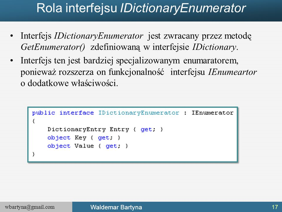 Rola interfejsu IDictionaryEnumerator