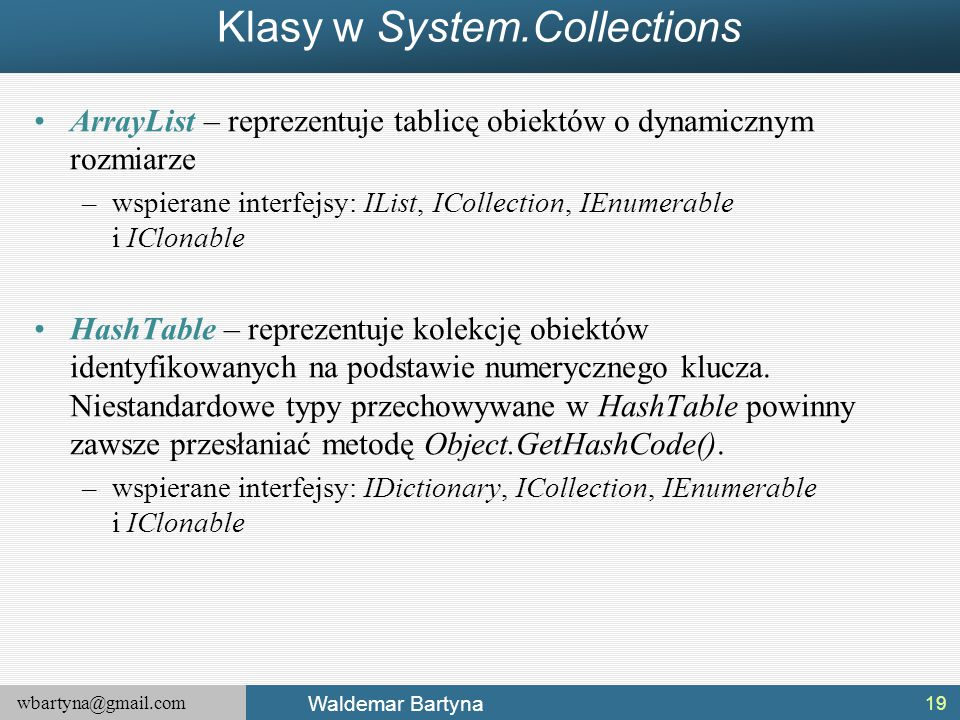 Klasy w System.Collections