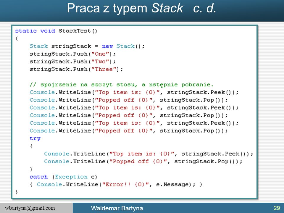 Praca z typem Stack c. d.
