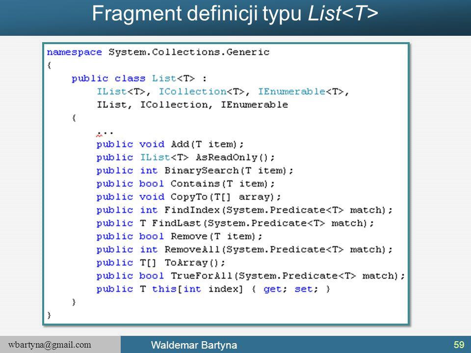 Fragment definicji typu List<T>