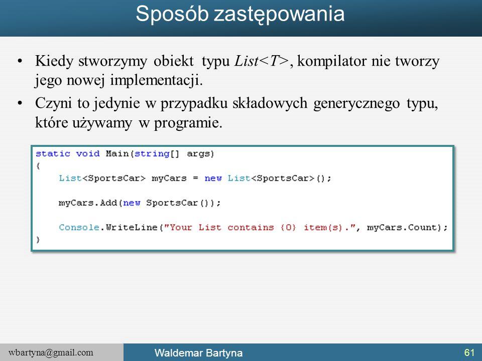 Sposób zastępowania Kiedy stworzymy obiekt typu List<T>, kompilator nie tworzy jego nowej implementacji.