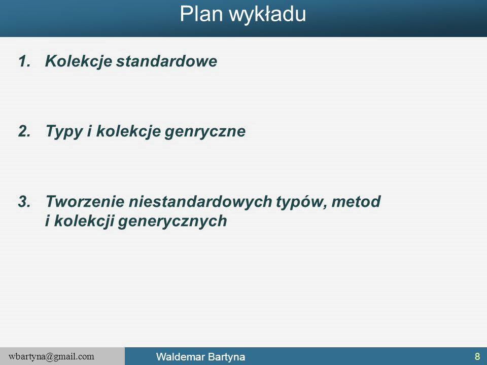 Plan wykładu Kolekcje standardowe Typy i kolekcje genryczne