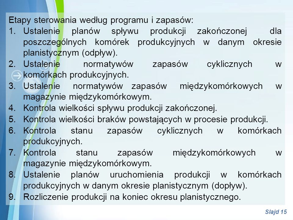 Etapy sterowania według programu i zapasów:
