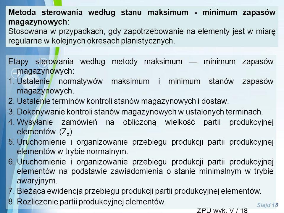 Ustalenie normatywów maksimum i minimum stanów zapasów magazynowych.