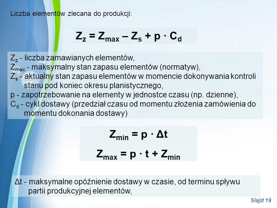 Zmin = p · Δt Zmax = p · t + Zmin