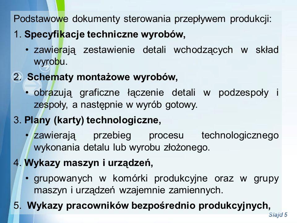 Podstawowe dokumenty sterowania przepływem produkcji: