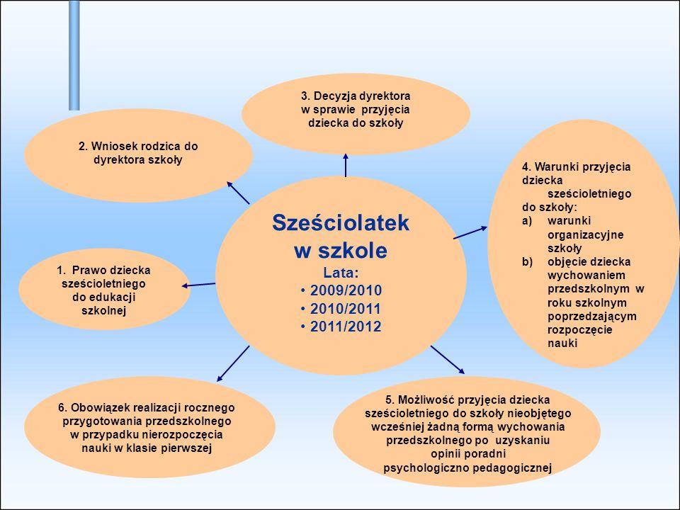 Sześciolatek w szkole Lata: 2009/2010 2010/2011 2011/2012