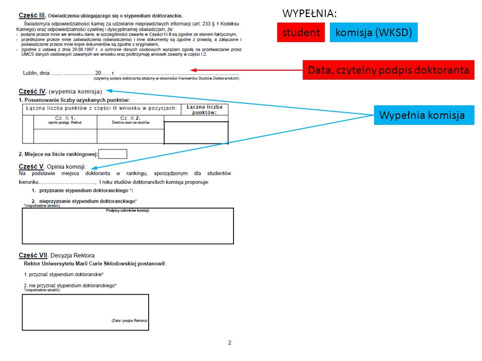student komisja (WKSD) WYPEŁNIA: Data, czytelny podpis doktoranta Wypełnia komisja