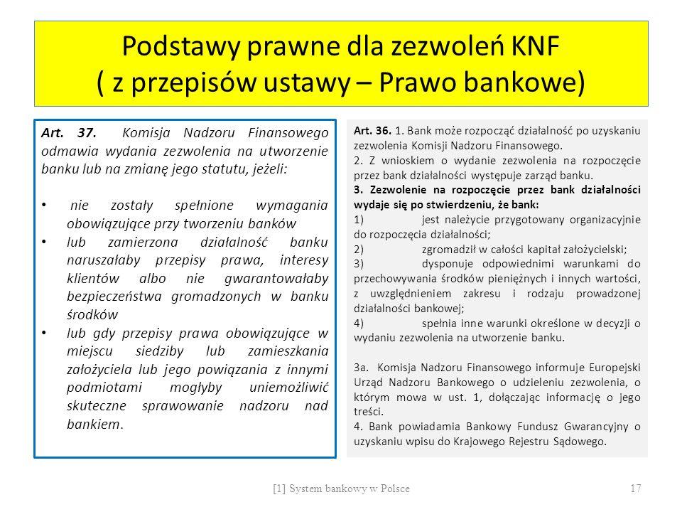 Podstawy prawne dla zezwoleń KNF ( z przepisów ustawy – Prawo bankowe)