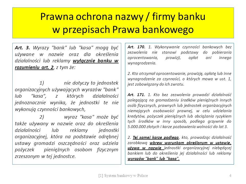 Prawna ochrona nazwy / firmy banku w przepisach Prawa bankowego