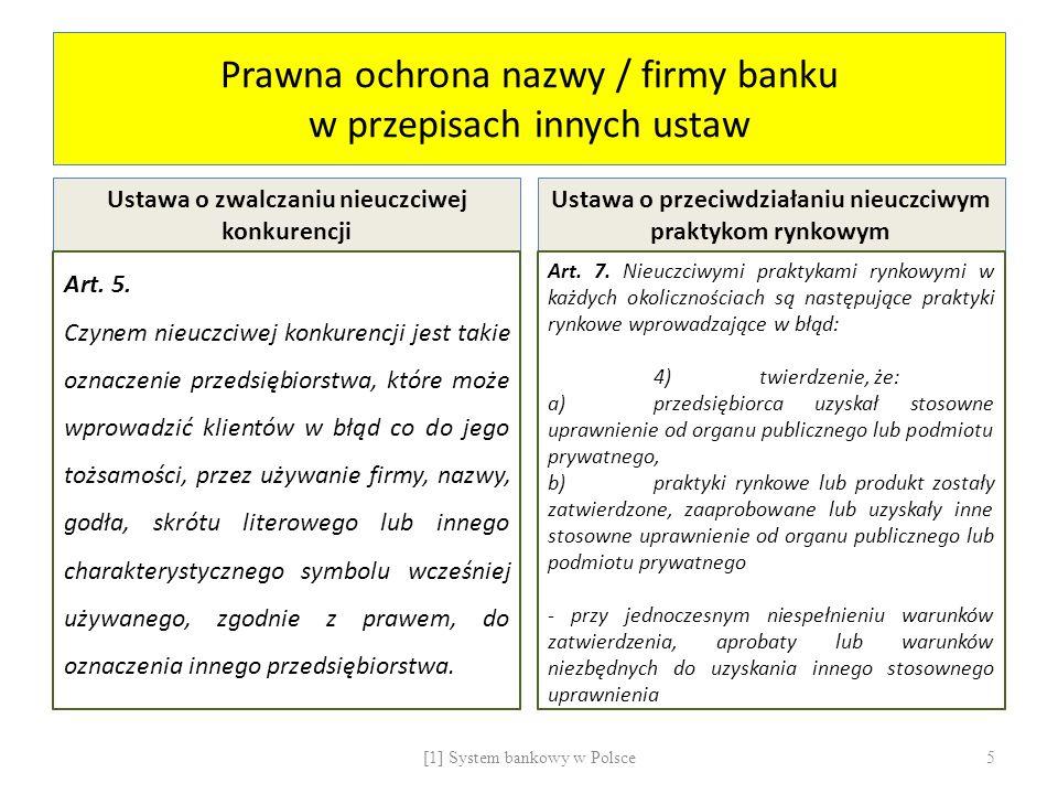 Prawna ochrona nazwy / firmy banku w przepisach innych ustaw