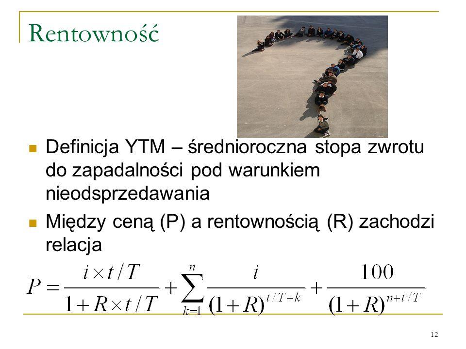 Rentowność Definicja YTM – średnioroczna stopa zwrotu do zapadalności pod warunkiem nieodsprzedawania.