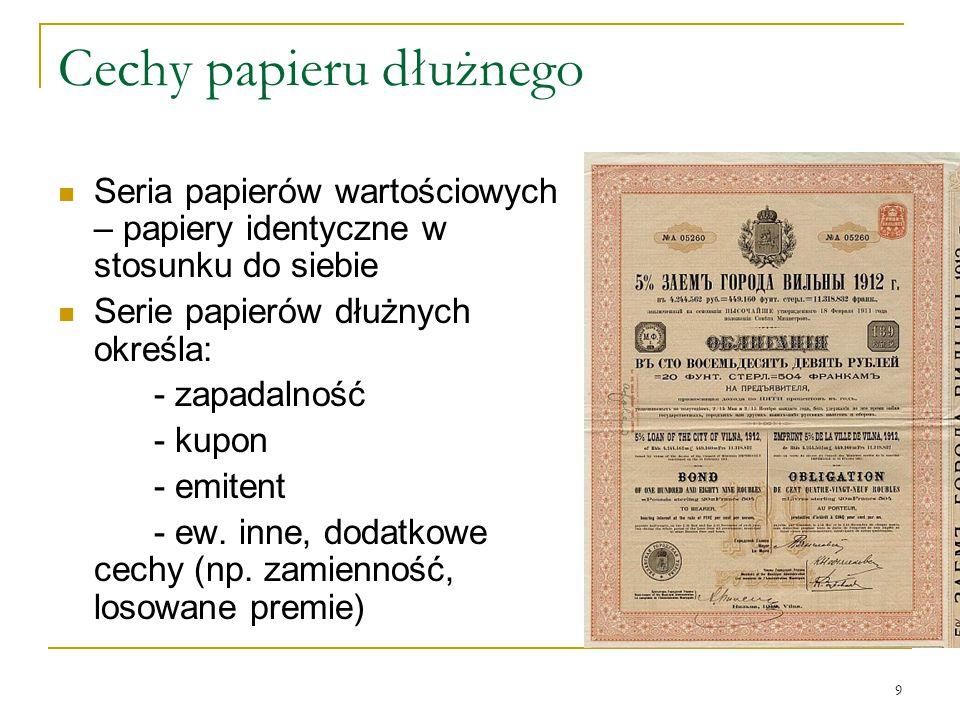 Cechy papieru dłużnego