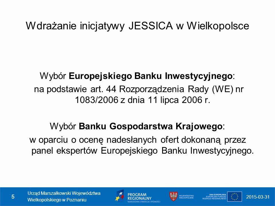 Wdrażanie inicjatywy JESSICA w Wielkopolsce