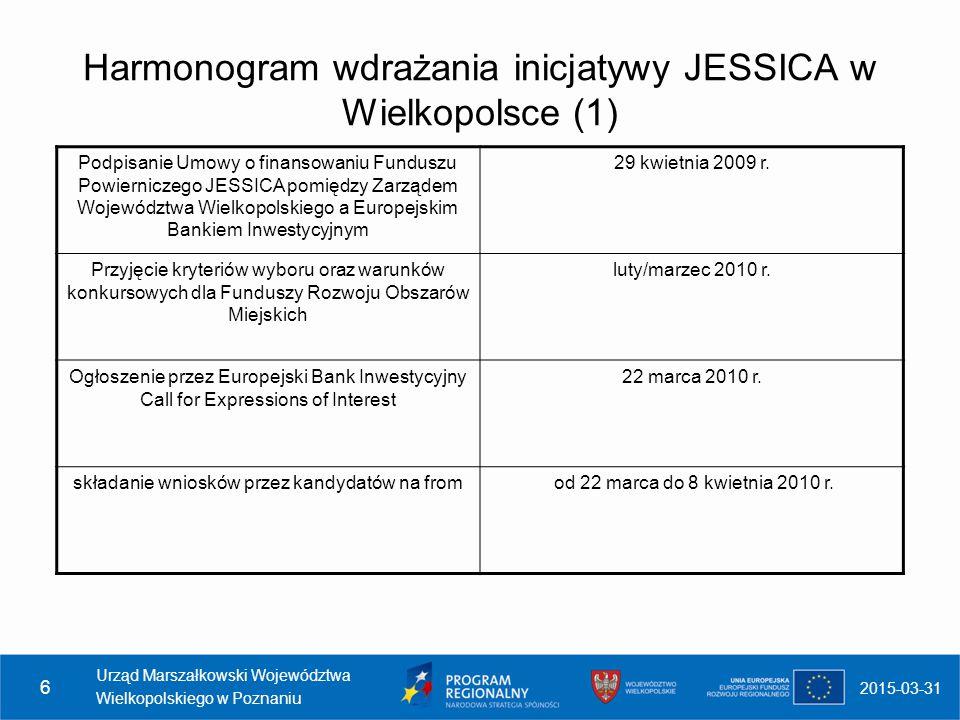 Harmonogram wdrażania inicjatywy JESSICA w Wielkopolsce (1)