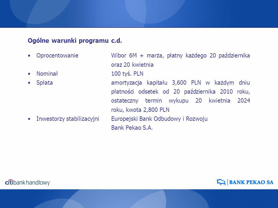 Ogólne warunki programu c.d.