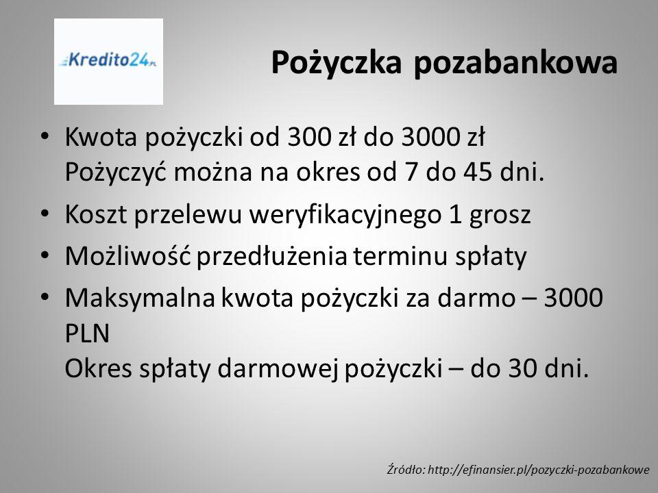 Pożyczka pozabankowa Kwota pożyczki od 300 zł do 3000 zł Pożyczyć można na okres od 7 do 45 dni. Koszt przelewu weryfikacyjnego 1 grosz.