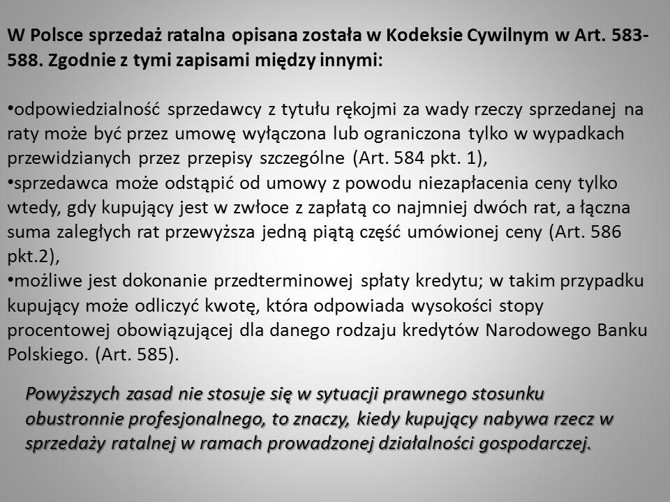 W Polsce sprzedaż ratalna opisana została w Kodeksie Cywilnym w Art