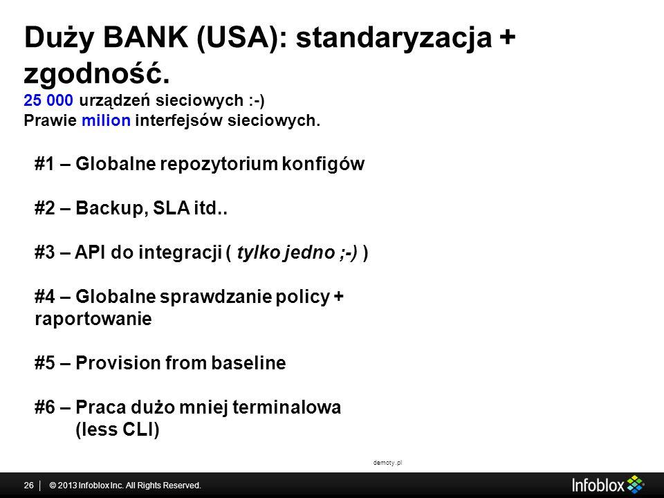 Duży BANK (USA): standaryzacja + zgodność