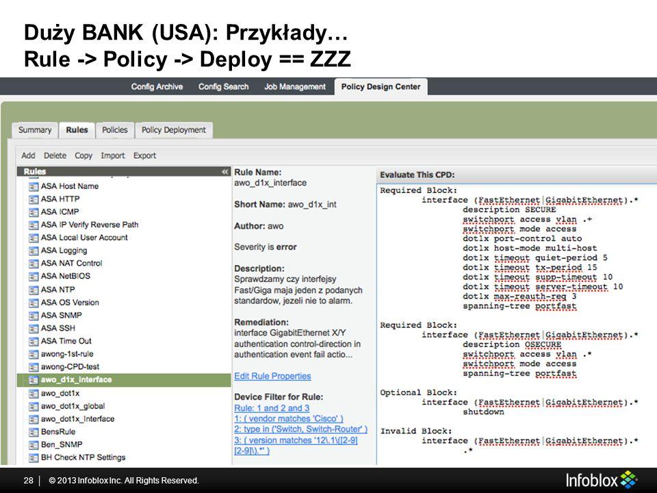 Duży BANK (USA): Przykłady… Rule -> Policy -> Deploy == ZZZ