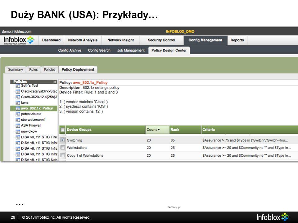 Duży BANK (USA): Przykłady…