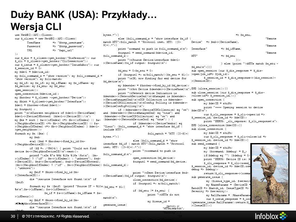 Duży BANK (USA): Przykłady… Wersja CLI