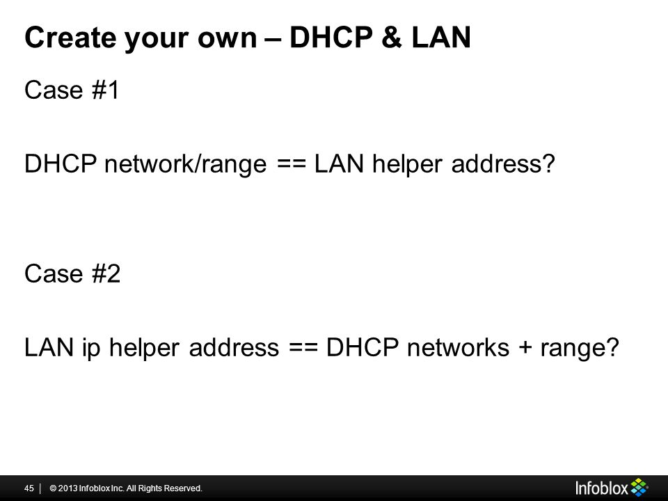 Create your own – DHCP & LAN