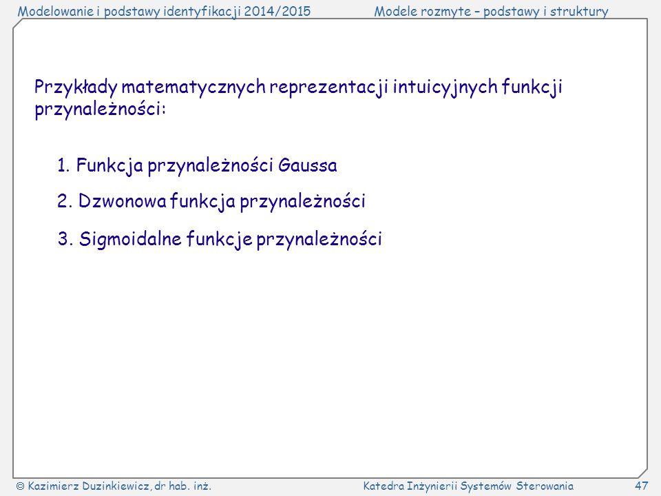 Przykłady matematycznych reprezentacji intuicyjnych funkcji przynależności: