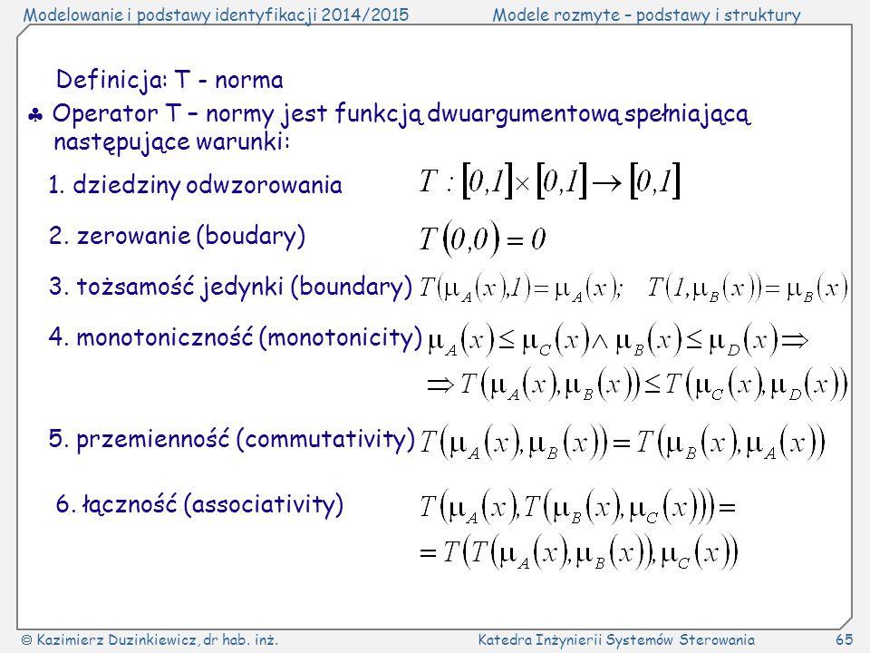 Definicja: T - norma  Operator T – normy jest funkcją dwuargumentową spełniającą następujące warunki: