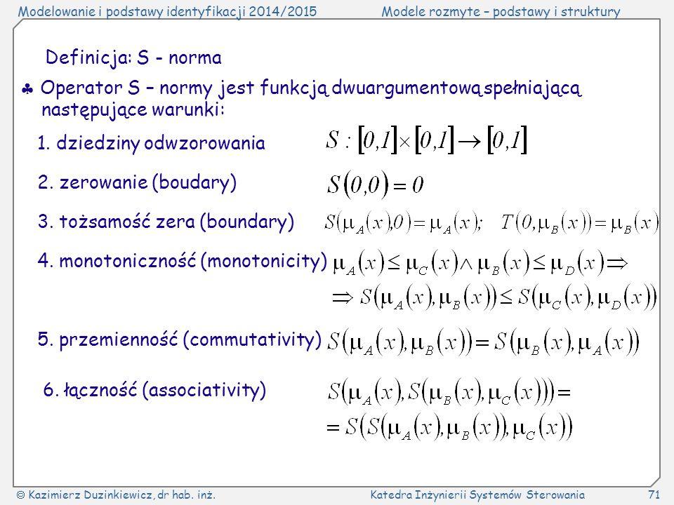Definicja: S - norma  Operator S – normy jest funkcją dwuargumentową spełniającą następujące warunki: