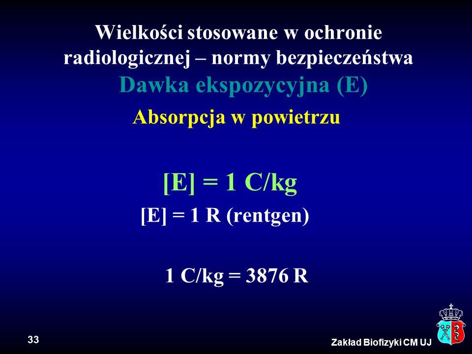 Wielkości stosowane w ochronie radiologicznej – normy bezpieczeństwa Dawka ekspozycyjna (E)