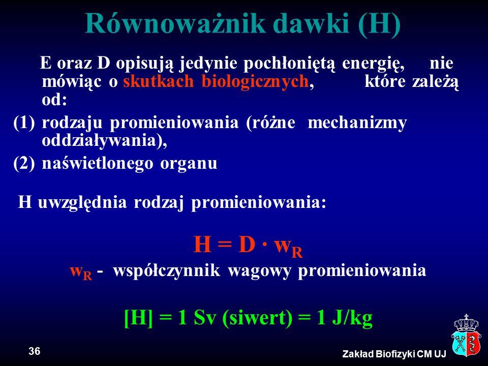 wR - współczynnik wagowy promieniowania