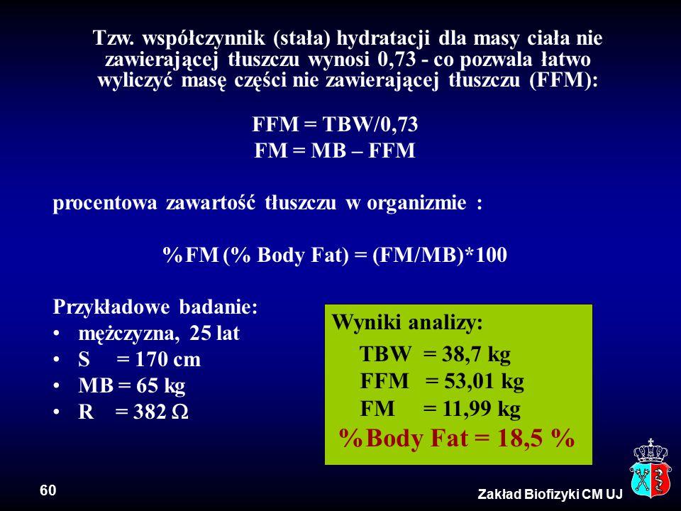 %FM (% Body Fat) = (FM/MB)*100