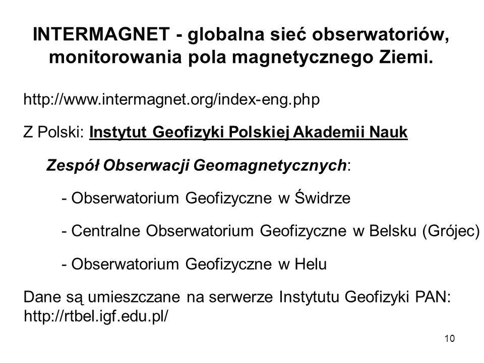 INTERMAGNET - globalna sieć obserwatoriów, monitorowania pola magnetycznego Ziemi.