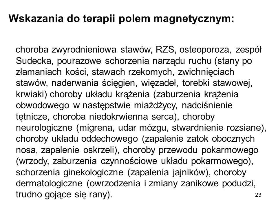 Wskazania do terapii polem magnetycznym: