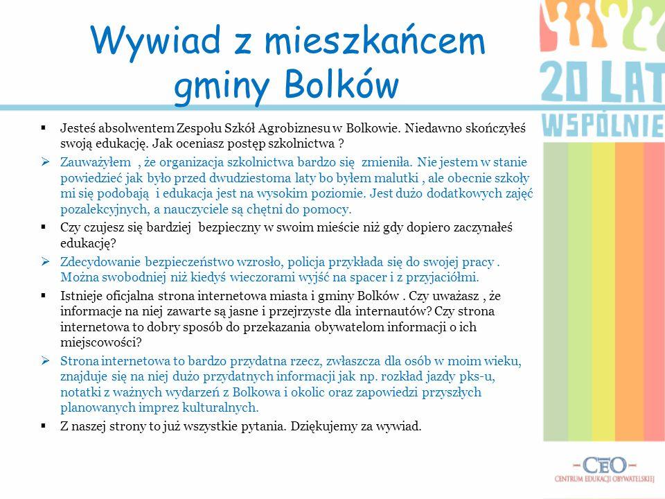 Wywiad z mieszkańcem gminy Bolków