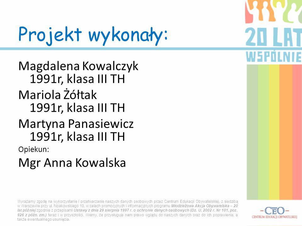 Projekt wykonały: Magdalena Kowalczyk 1991r, klasa III TH