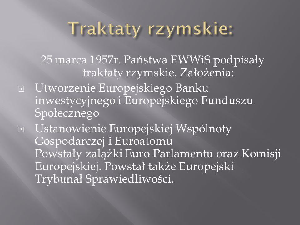 25 marca 1957r. Państwa EWWiS podpisały traktaty rzymskie. Założenia: